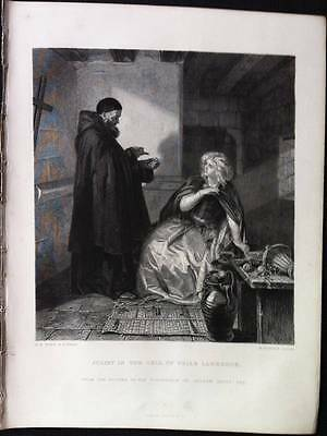 After E.M. Ward JULIET IN THE CELL OF FRIAR LAWRENCE Antique engraved Print 1873