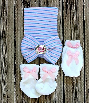 Infant baby girl toddler comfy Hospital beanie hat with socks mittens bowknot