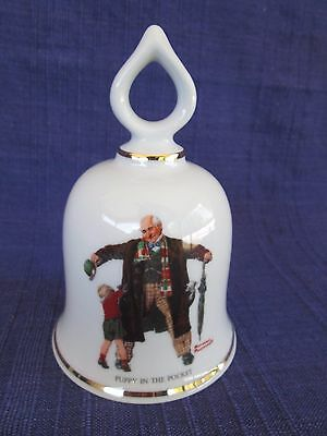 """Norman Rockwell """"PUPPY IN THE POCKET"""" Danbury Mint Collectible Bell"""