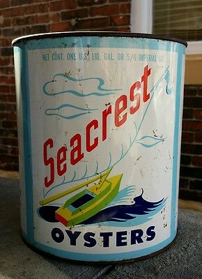 Vintage Seacrest Oysters 1 Gal Tin Can Pail Bucket Advertizing