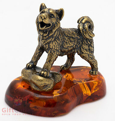 Solid Brass Amber Figurine of Siberian Husky Dog IronWork