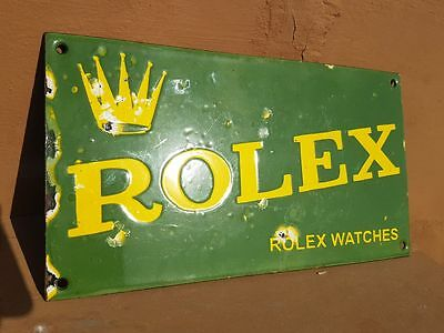 Original Vintage Old Antique Rare ROLEX Watches Ad Porcelain Enamel Sign Board