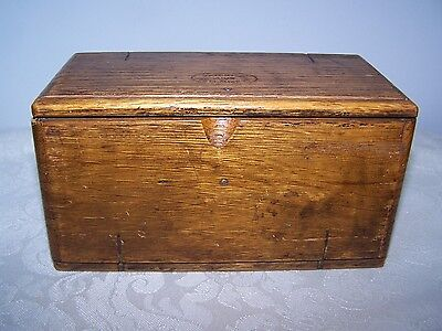 Singer Sewing Machine Wood Dovetailed Parts Box With Attachments Pat. Feb. 1889