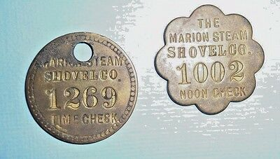 Old Marion Steam Shovel Time & Noon Check Tag Lot Ohio Token Brass