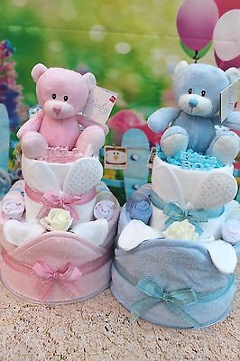 2 Tier Bathtime Girls/boys Nappy Cake Baby Shower - Gift Wrapped