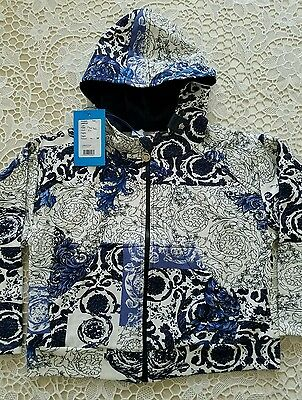 NWT NEW Young Versace boys blue white print sweat hoodie 6y CURRENT SEASON