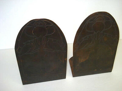 Vintage Copper Handcrafted Craftsman Arts And Crafts Bookends