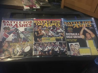 Australian rugby league Programmes 1992 All 3 Tests V Great Britain In Australia
