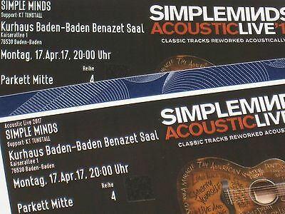 2 Tickets Simple Minds 4. Reihe am Ostermontag in Baden Baden, 17. April 2017