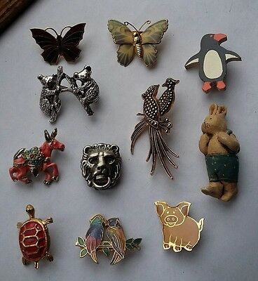 JOB LOT OF ANIMAL BROOCHES (all different)