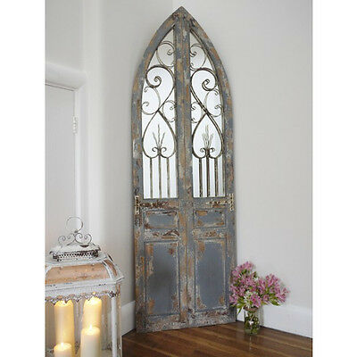 Very large Arched Window Door Wall Mirror Shabby Chic Distressed