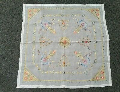 """Vintage Indian Silk Embroidered Gold Square Table Cloth Runner Throw 32"""""""
