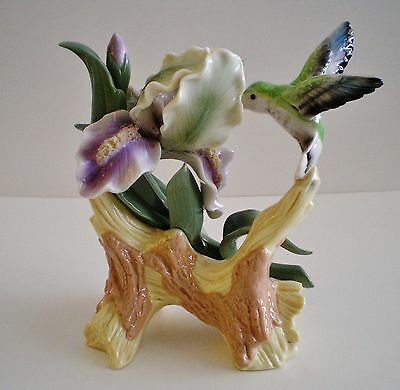 Hand Painted Porcelain Hummingbird With Violet Iris Figurine New No Box