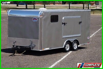 8.5x18 Double Popout Enclosed Motorcycle UTV Camping Trailer: Cabinets Awning