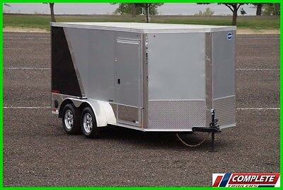 7x14 V-Nose Enclosed Cargo Motorcycle Trailer: Chocks Screwless LED