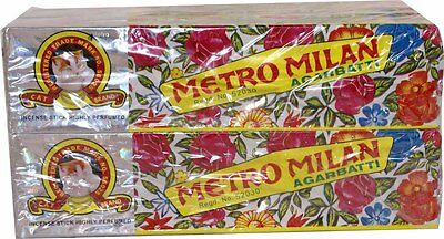 12 pack of Metro Milan Sented Incense Sticks Agarbatti -18 Sticks per pack