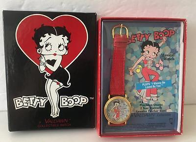 Betty Boop Musical Watch Red Mint Box 1995 Valdawn I Want to be Loved By You!