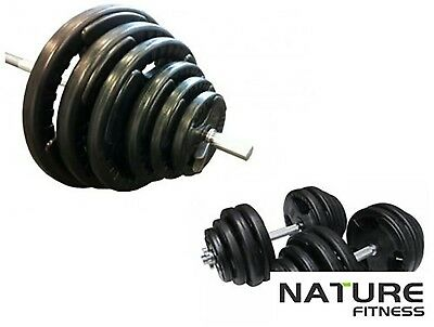 Nature Fitness 50kg Standard Rubber Coated Barbell/dumbbell Weights Set Home Gym