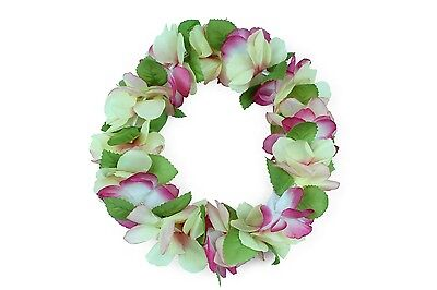 Hawaiian Lei Party Luau Haku Head Band Elastic Royal Peach Flower Plumeria