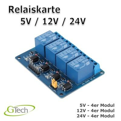 4 Kanal Relais Modul 5V / 12V / 24V Relay Interface Relais Modul Optokoppler