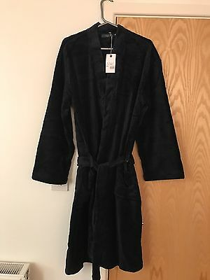 Men's Soft Navy Blue Atlantic Bay Dressing Gown/Robe Size Small BNWT
