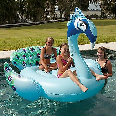 "NEW! Giant Ride On Inflatable Pool Lake Beach Float Floating Peacock 60"" x 84"""