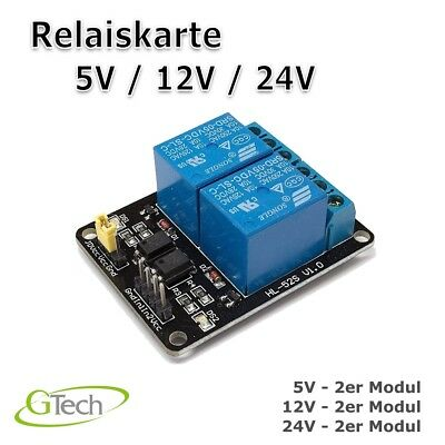 2 - Kanal Relais Modul 5V / 12V / 24V Relay Interface Relais Modul Optokoppler