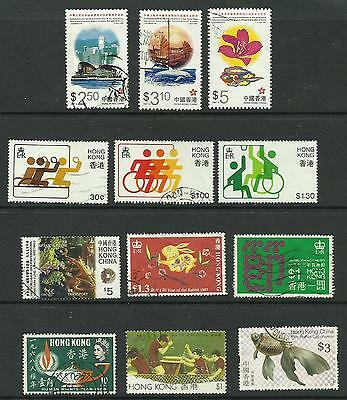 Hong Kong. Selection of 12 used stamps.