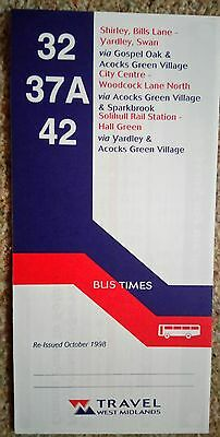 West Midlands Travel 32 42 bus timetable dated 1998