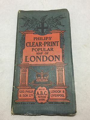 Antique 1912 Philip's Clear Print Popular Map of London