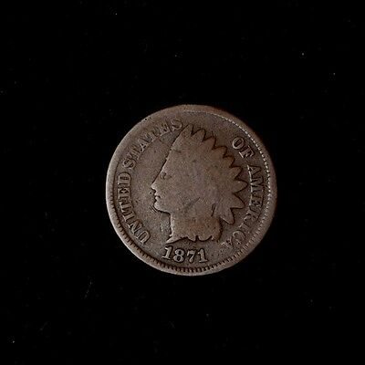 1871 1C Indian Head Cent Penny Keydate Circulated Us Type Coin]