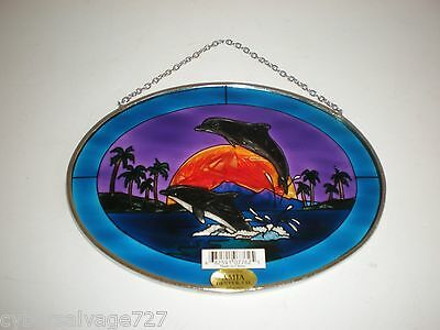 Stained Glass Two Dolphins Sun Catcher Oval Etched & Hand Painted Nautical Decor