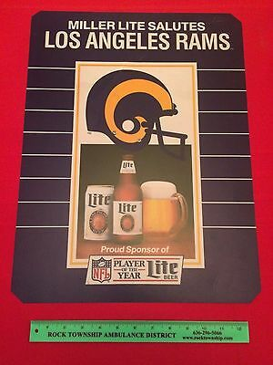 Vtg Miller Lite Salutes Los Angeles Rams Football NFL Player of the Year Sign