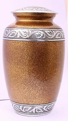 Cremation adult urn for ashes UK, Funeral Memorial Remembrance Large brown SALE