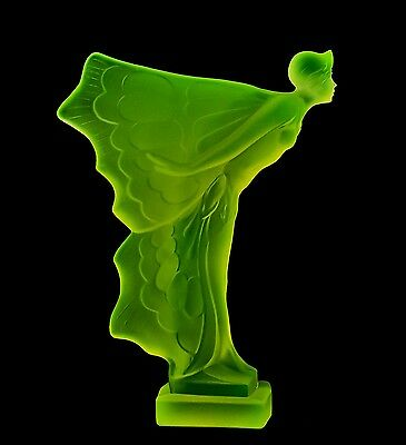 Bohemian Art Deco Vaseline Glass Car Mascot Nude Woman With Wings
