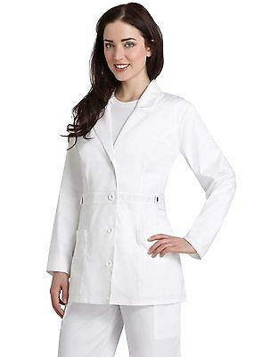 Medical White Women Short Tab-Waist Lab Coat XS S M L XL 2XL FREE SHIPPING NWT