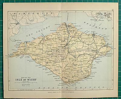 1882 Small Antique County Map ~ Isle Of Wight Newport Ryde Brading St Helens