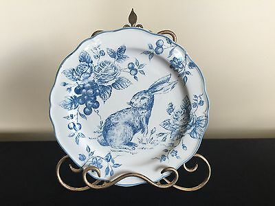 5-pc Toile Blue & White RABBIT EASTER BUNNY Dinner Plates MAXCERA NEW