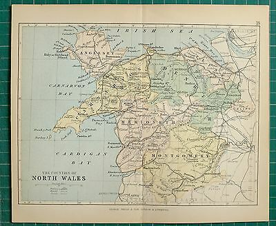 1882 Small Antique County Map North Wales Carnarvon Anglesey Montgomery Denbigh