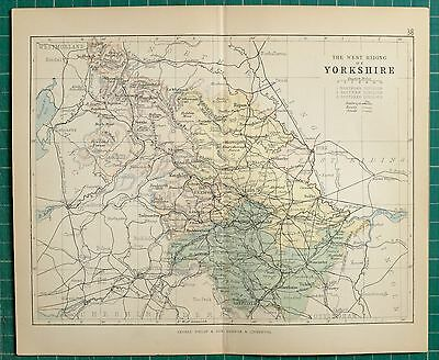 1882 Small Antique County Map ~ West Riding Of Yorkshire Leeds Halifax Wakefield