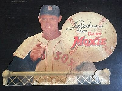 1950's Ted Williams Says DRINK MOXIE Advertising Sign RARE Baseball Cardboard