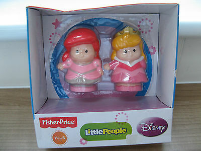 Fisher Price Little People Sleeping Beauty & Areil Toy Figures Disney Princess