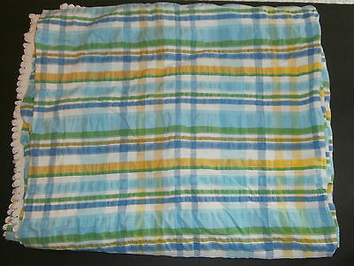 Vintage Bates Bedspread Twin Sized Plaid Green Blue Yellow Fringed Textured