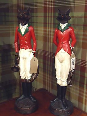 Pair Standing Foxes with crop & bugle ornament riding hunting horse