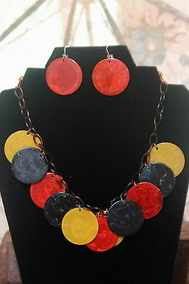 Colorful vintage bakelite poker chip necklace and earring set. Tested.