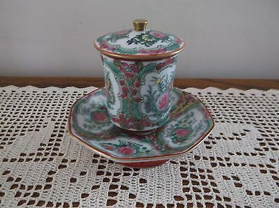 Antique Rose Medallion  8 Sided Tea Cup with Lid & Saucer