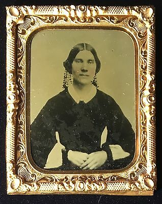 Victorian Woman Dark Dress Unusual Hair Hanging Lace? 1/9 Plate Ambrotype A111