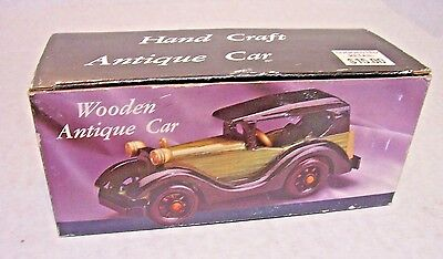 Classic Wooden Model Car In Original Box Vintage 1980's Hand Craft New Old Stock