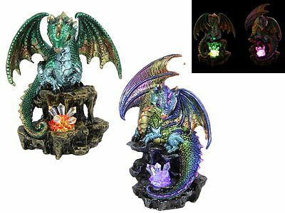 Dragon statue looking over light up purple crystal, Great Gift!