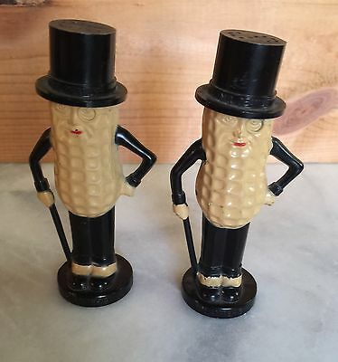 Vintage Mr. Peanut Salt & Pepper Shakers Made In USA Original Cork